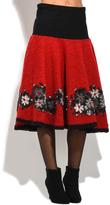 Everest Red Floral Wool-Blend A-Line Skirt
