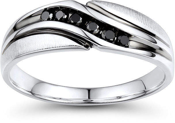 Black Diamond FINE JEWELRY Mens 1/5 CT. T.W. Color-Enhanced Sterling Silver Wave Comfort Fit Ring