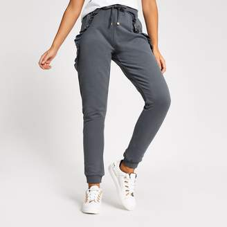 River Island Womens Grey frill side loose fit joggers