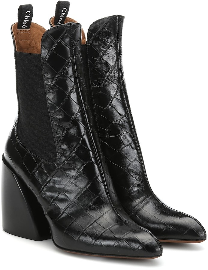 d3904bd7564 Wave embossed leather ankle boots