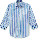 Thomas Dean Big & Tall Long-Sleeve Multi-Stripe Woven Shirt