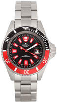 Croton Mens Red and Black Stainless Steel Watch
