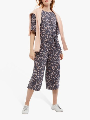 White Stuff Cassie Abstract Cropped Jumpsuit, Grey Print