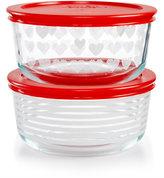 Pyrex Hearts & Stripes 4-Pc. Storage Set