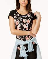 Ultra Flirt Juniors' Floral-Printed Baseball T-Shirt