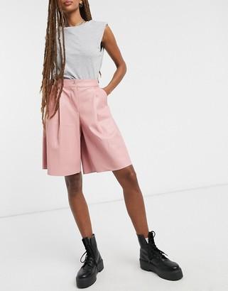Topshop PU culottes in pink