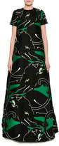 Valentino Panther Jacquard Archive Gown, Green/Black
