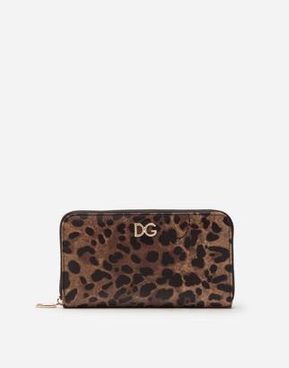 Dolce & Gabbana Zip-Around Wallet In Leopard Print Dauphine Calfskin