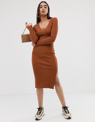 Asos Design DESIGN midi dress with v-neck in rib knit-Red