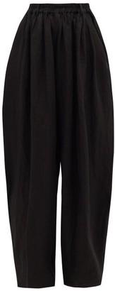 Zanini - Tailored Linen Wide-leg Trousers - Black