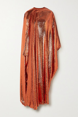 Valentino Sequined Silk-tulle Wrap Gown - Orange