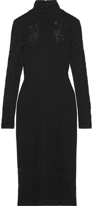 Oscar de la Renta Burnout Stretch-knit Turtleneck Dress
