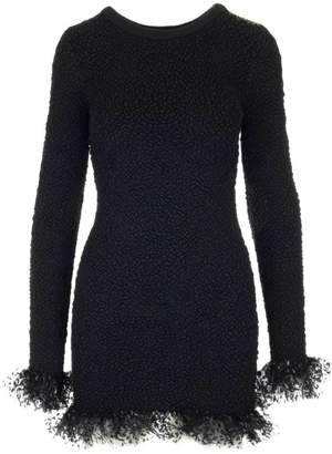 Saint Laurent Frill Polka Dot Tulle Trimmed Fitted Dress