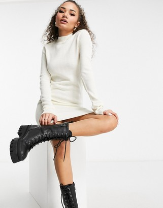 Brave Soul military sweater dress in cream