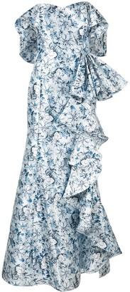 Badgley Mischka Off-The-Shoulder Ruffle Gown