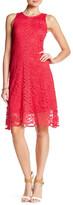 Donna Ricco Sleeveless Lace Trapeze Dress