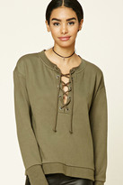 Forever 21 FOREVER 21+ Lace-Front Sweatshirt