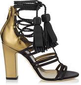 Jimmy Choo DIAMOND 100 Black Satin and Honey Gold Mirror Leather Sandals