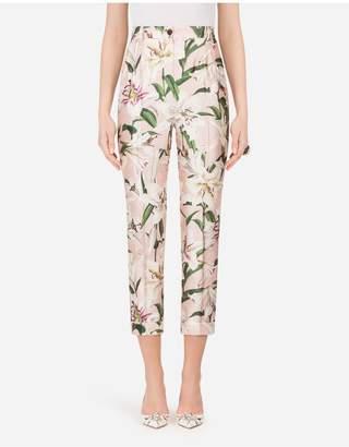 Dolce & Gabbana Lily-Print Shantung Pants