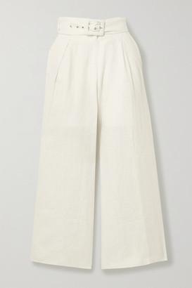Faithfull The Brand Lena Belted Linen Wide-leg Pants - White