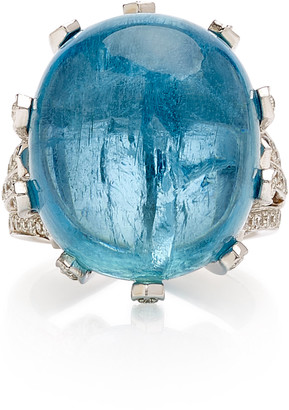 Gioia Bini 18K White Gold, Aquamarine And Diamond Ring