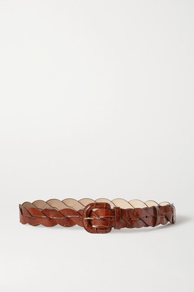 Loeffler Randall Deidre Braided Croc-effect Leather Belt - Brown