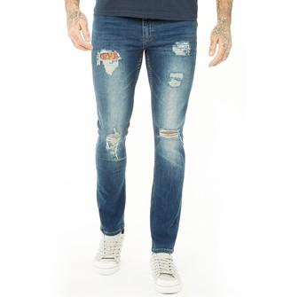 Firetrap Mens Ripped Skinny Jeans Mid Wash