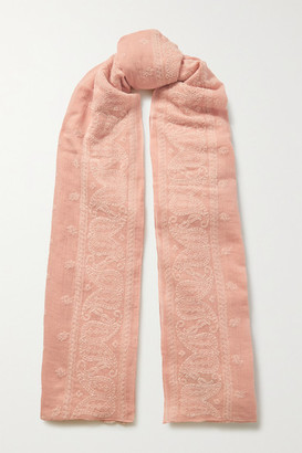 Rag & Bone Embroidered Cotton-voile Scarf - Baby pink
