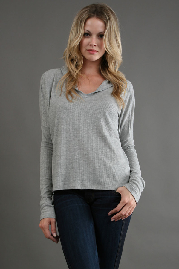T2 Love L/S Hooded Thermal in Heather Grey