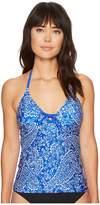 Nautica Cottage Paisley Lace-Up Tankini Top Women's Swimwear