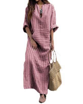 ilovgirl Women Vintage Loose Striped Long Sleeve Casual Baggy Kaftan Boho Plus Size Maxi Cotton Linen Dresses (4XL=UK20