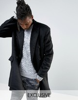 Mennace Double Breasted Wool Overcoat In Black