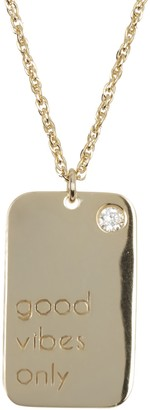 Lesa Michele Gold Plated Sterling Silver CZ 'Good Vibes Only' Dog Tag Pendant Necklace