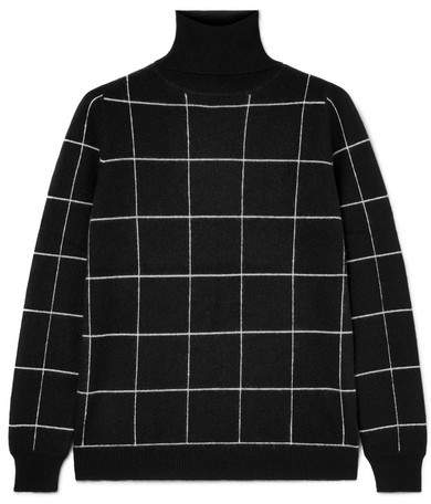 Madeleine Thompson Ida Checked Cashmere Turtleneck Sweater - Black