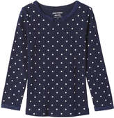 Joe Fresh Toddler Girls' Rib Knit Polka Dot Tee, Navy (Size 3)