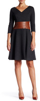 NUE by Shani Faux Leather Trim Dress