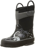 Western Chief Boys' Dino Fossil Neoprene Snow Boot, Charcoal, 13 M US Little Kid