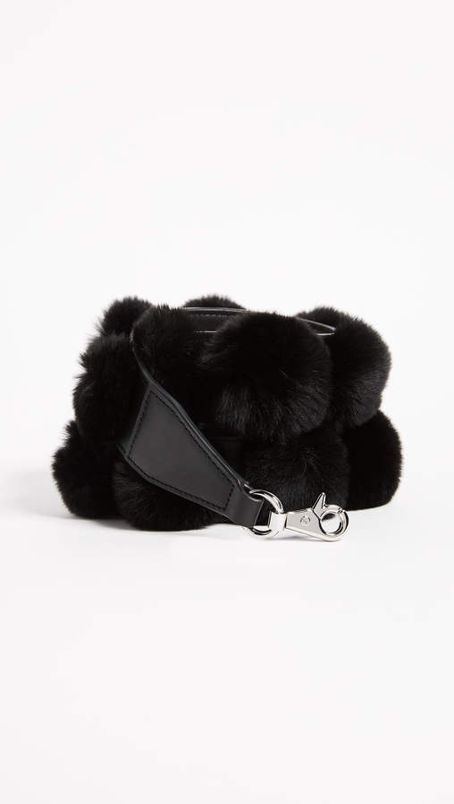 Alexander Wang Dome Cage Bag Strap with Rabbit Fur Pom Poms