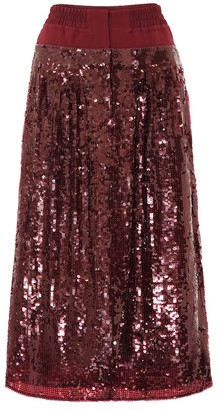 Tibi Sequined silk skirt