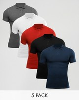 Asos 5 Pack Extreme Muscle Polo Shirt In Pique SAVE