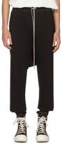 Rick Owens Black Fleece Cropped Drawstring Lounge Pants