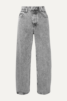 Alexander Wang Curb Cropped Acid-wash High-rise Straight-leg Jeans - Light gray