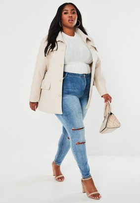 Missguided Size Beige Eyelet Belted Faux Leather Jacket