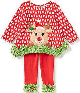 Rare Editions Baby Girls 12-24 Months Christmas Reindeer-Appliqued Printed Top & Ruched-Hem Leggings