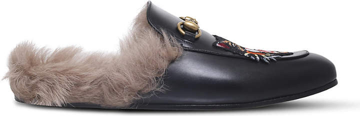 Gucci Princetown Angry Cat leather slippers