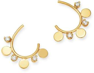 Chicco Zoë 14K Yellow Gold Itty Bitty Diamond & Disc Hoop Earrings