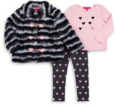 Betsey Johnson Girls 2-6x Striped Faux Fur Jacket, Tee and Leggings Set