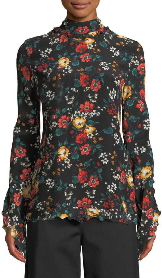 Derek Lam Mock-Neck Long-Sleeve Floral-Print Silk Blouse