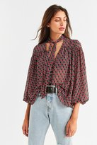 Urban Outfitters Teresa Printed Tie-Neck Blouse