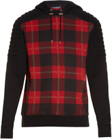 Balmain Tartan-print hooded cotton-jersey sweatshirt